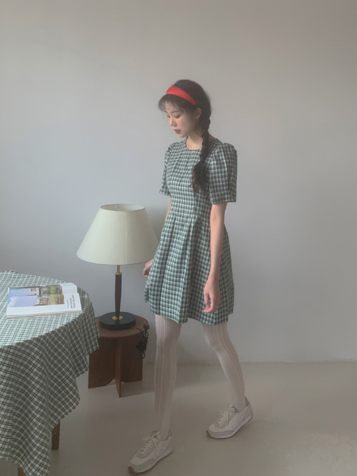 ALICE CHECK PUFF DRESS(PINK, GREEN 2COLORS!)