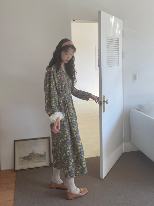 VINTAGE COLLAR SHIRTS FLORAL DRESS(GREEN, BLACK 2COLORS!)
