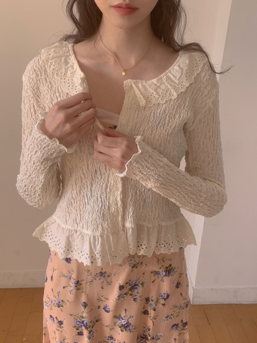 VINTAGE LACE NECK BLOUSE CARDIGAN(IVORY, BLACK 2COLORS!)