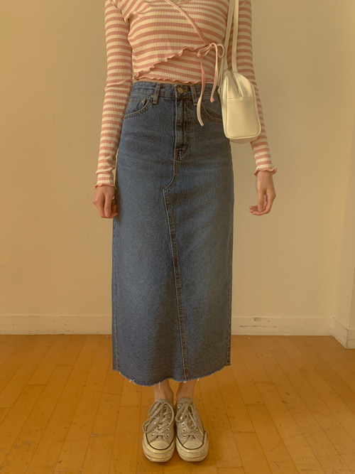 DENIM LINE SLIM LONG SKIRT