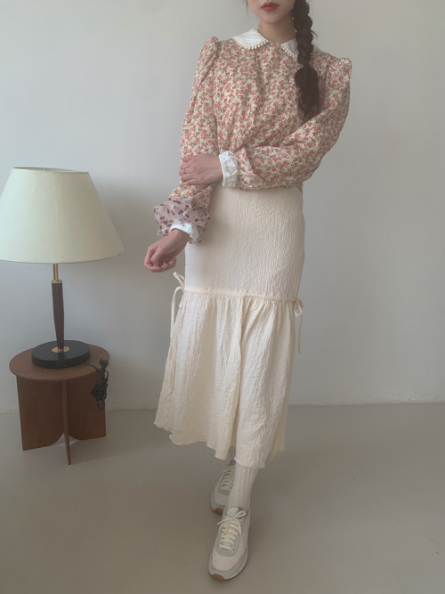 STRING SHIRRING SKIRT(BEIGE, COCOA, BLACK 3COLORS!)