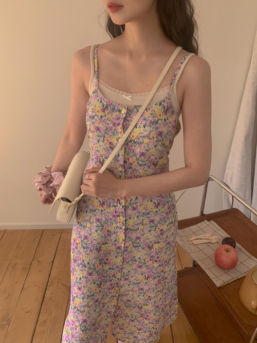 FLORAL BUTTON RIBBON SLIP DRESS(PINK, SKYBLUE, VIOLET 3COLORS!)