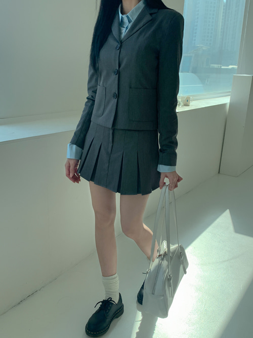 MILKY BUTTON JACKET PLEATS SKIRT SET(GREY, BLACK 2COLORS!)(*개별구매가능!*)