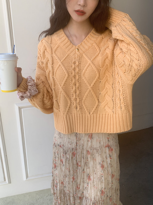 COSY V-NECK TWIST LOOSE CROP KNIT(CREAM, MINT, PINK, YELLOW 4COLORS!)