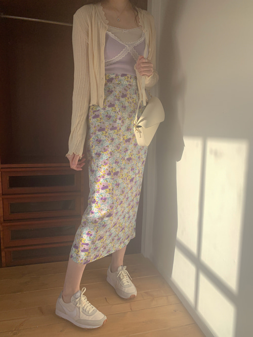 ATTELIE FLEUR LONG SKIRT(BEIGE, VIOLET 2COLORS!)