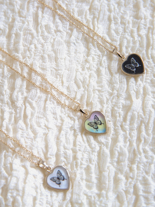 BUTTERFLY GOLD NECKLACE(WHITE, BLACK, AURORA 3COLORS!)