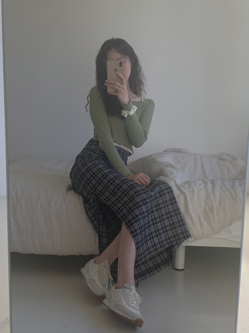 STRAP RIBBON CHECK LONG SKIRT(GREEN, BLACK 2COLORS!)